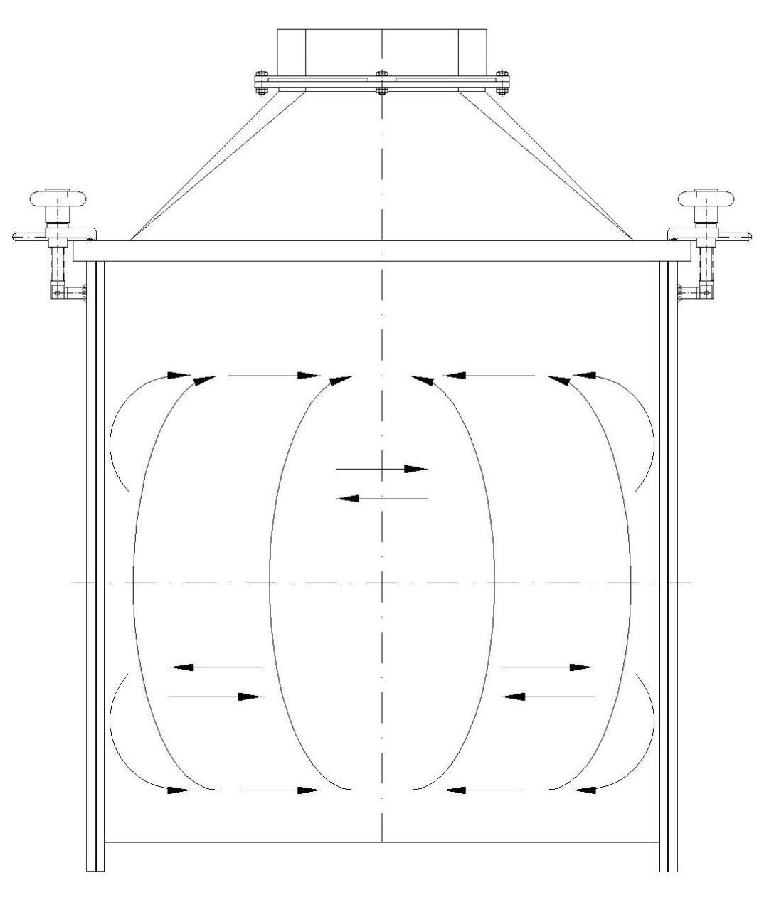 Schemat przemieszczanie surowca w czasie procesu mieszania.
